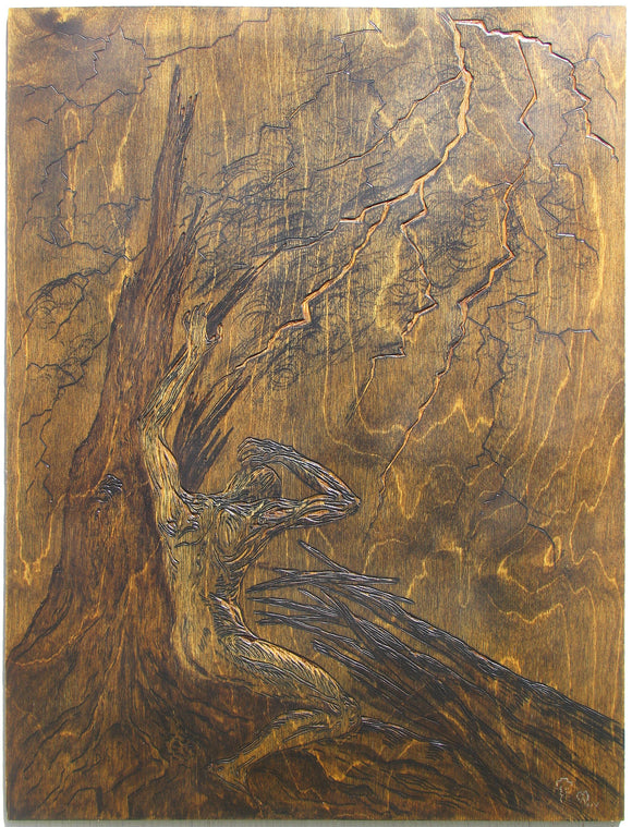 As If Struck by Lightning Original Hand-carved Baltic Birch Relief Woodblock OOAK Mounted Framed Storm