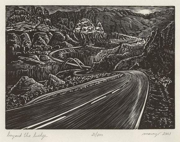 Original Art Beyond Bridge Wood Engraving Print Road traveler Southwest Landscape