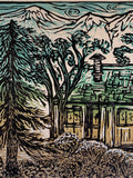Original Limited Edition Old Cabin Color Woodcut Mountain Cabin Wood Pines