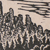 Original Woodcut Waterfall Breaks High River Desert Landscape Handmade Paper