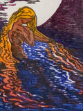 Original Woodcut Aloja Water Woman Lake In Moonlight Siren Night
