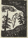 FRAMED 5x7 Original Woodcut Spruce on Ledge Cave Desert Landscape
