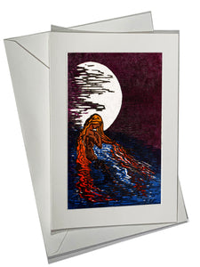 Water Woman Aloja Color Art Card Lake Moon Blue