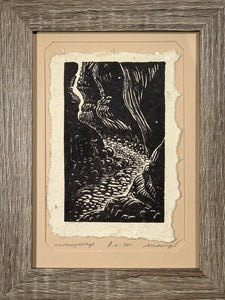FRAMED 5x7 Original Woodcut Narrow Passage Slot Canyon Hike