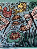 Bright Color Original Woodcut About the Pond Child Art Frog Fish Dragonfly