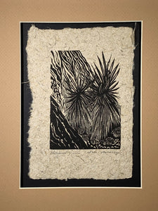 Original Woodcut Starburst Yucca Mojave Desert Valley of Fire Flora Cactus