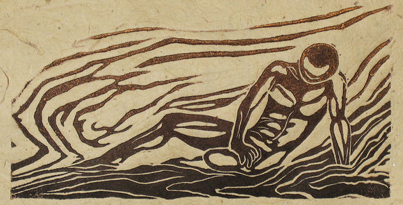 Woodcut Print Classic Art Woodblock Pose Male Reclined Surreal Swirl Woodgrain LE