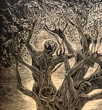 Surreal Figures Tree of Life Fine Art Print Wood Engraving Inspirational