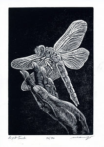 Original Print Wood Engraving Woodcut Dragonfly Hand Small Wall Art Light Touch