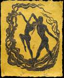 Large Original Woodcut Print Flamenco Dance of the Sun on Gold Handmade Paper