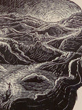 Original Wood Engraving Art Inspirational Haiku Light Life Seeker Surreal Traveler at Dawn