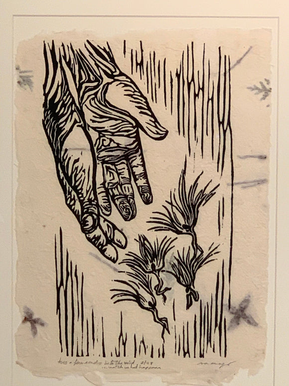 Original Print Woodcut Toss Few Seeds Surreal Seedlings Gardener handmade paper