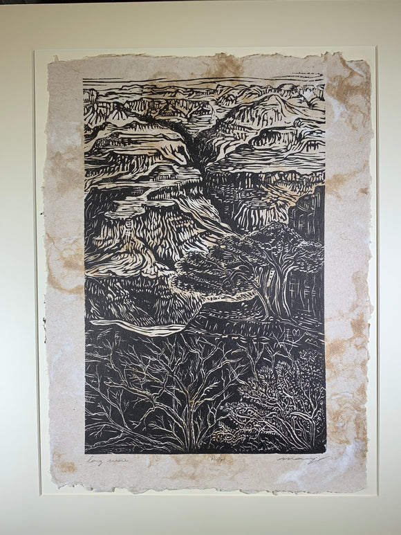 MATTED 16X20 Original Woodcut Long View Grand Canyon Colorado Handmade Paper
