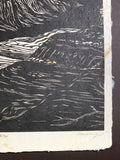 MATTED 16X20 Original Woodcut Colorado Grand Canyon View VII Handmade Paper