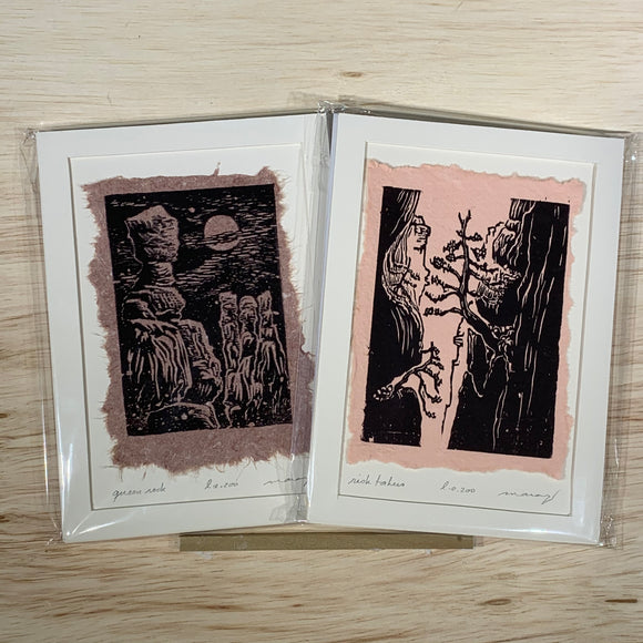 5x7 Original Woodcut Canyon Print SET Queen Rock Cliff Pines Art Gift MAT or FRAMED