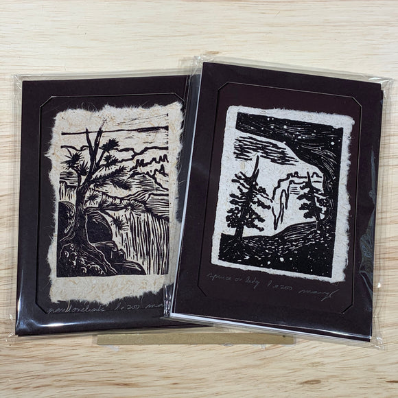 Art Gift MAT or FRAME 5x7 SET Original Woodcut Spruce Cave Grand Canyon Overlook