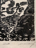 Woodcut Print Bridge Mountain Arches National Park on Handmade Paper