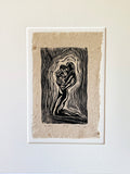 MATTED 11x14 Woodcut Print Original Art Classic Yoga Pose Mother Holding Baby