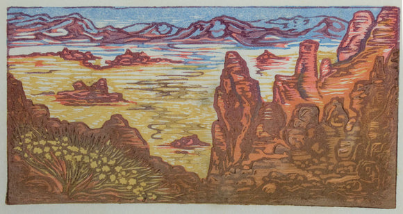 Original Art Color Japanese Woodblock Print Valley of Fire II Southwest Desert Landscape