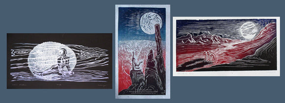Matched Set of 3 Moon Lover Woodcuts Southwest Night Sky Surreal Nature Figures