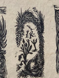 SET 3 Woodcut Prints Southwest Desert Joshua Yucca Willow Trees Nature Landscape