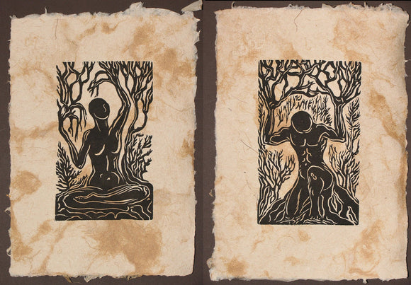Matched Set of 2 Earth Nature Nordic Gods Woodcut Prints on Fiber Handmade Paper