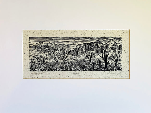 Matted 16x20 Joshua Forest Southwest Desert Landscape Woodcut on Japanese Paper