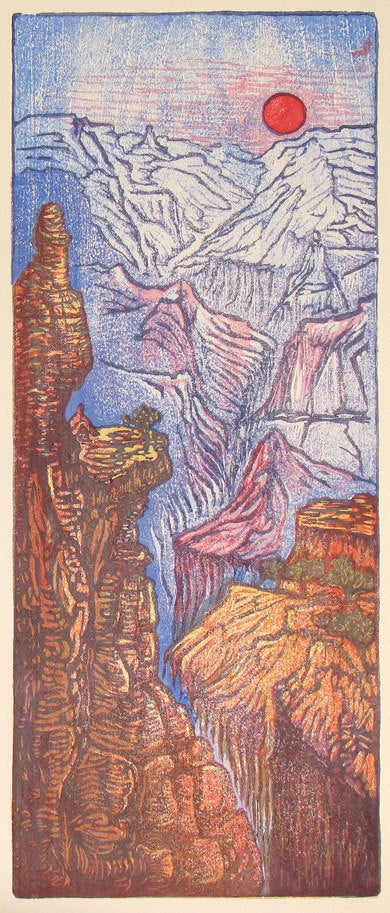 Color Woodblock Print Grand Canyon Sunset Blues Woodcut Sandstone Sunset Cliffs