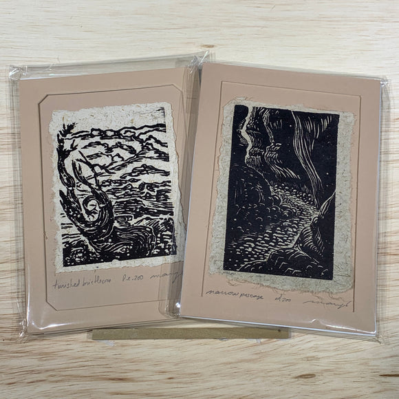Twisted Bristlecone Narrow Passage 5x7 Original Woodcut Nature Print SET Art Gift MAT or FRAMED