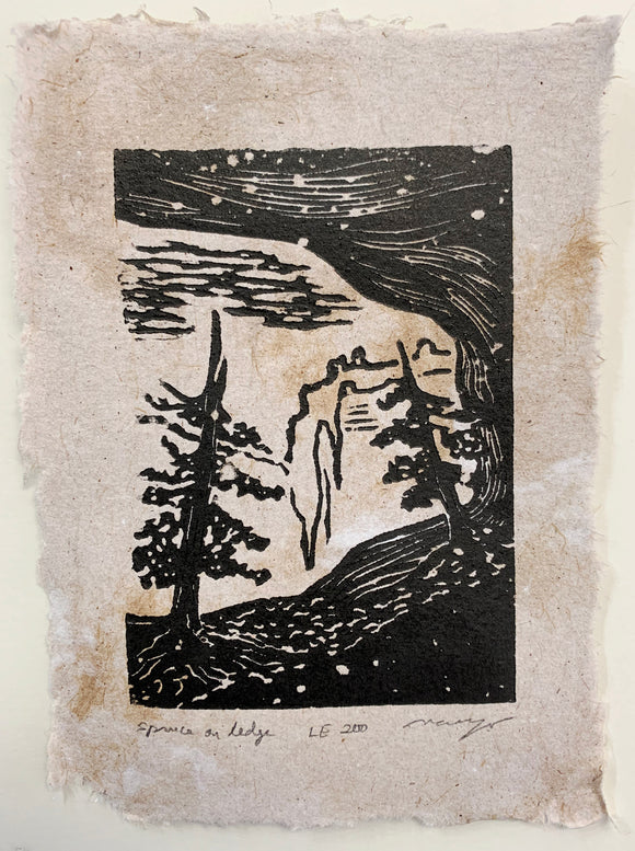 Grand Canyon Original Woodcut Tree Landscape Spruce on Cave Ledge