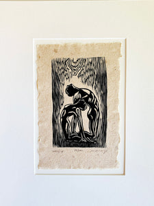 MATTED 11X14 Original Woodcut Print on Handmade Paper Worship Yoga Pose