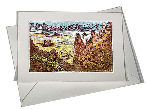 Watercolor Texture Color Valley of Fire II Rock Desert Landscape ART CARD
