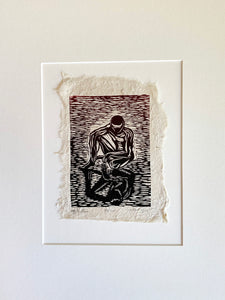 MATTED 12x16 Woodcut Original Print Male Classic Reflection The Thinker