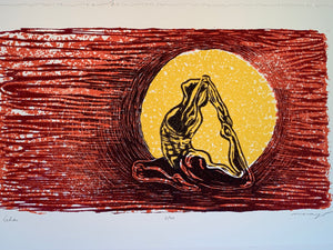 Color Woodcut Original Helios Sun God Red Orange Yoga Male Surreal Figure