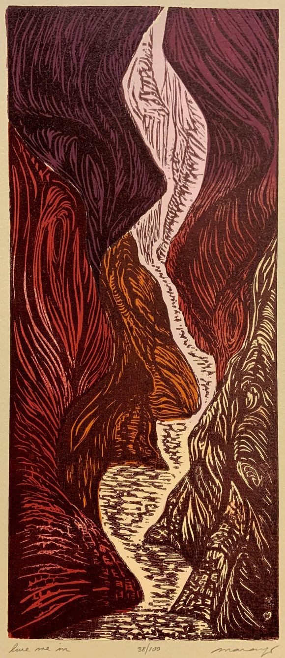 Color Woodcut Original Print Lure Me Into Slot Canyon Landscape Hiking Trail
