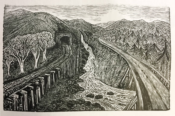 Crossing Paths Original Wood Engraving Road River Railroad Travelers Landscape