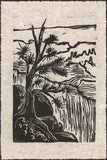 Grand Overlook Canyon View ART CARD Woodcut Tree River Landscape