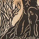 Original Woodcut Print Norse God Legend Yggdrasil Surreal Earth Sky Woodblock Art