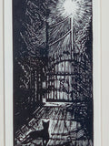 FRAMED 8x10 Cat Under Lampost Original Print Wood Engraving Woodcut Still Night
