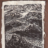 Original Woodcut Print on Handmade Paper Desert Islands Monument Valley Sunset