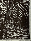 Hidden Fountain Original Woodcut Rock Waterfall Creek Landscape