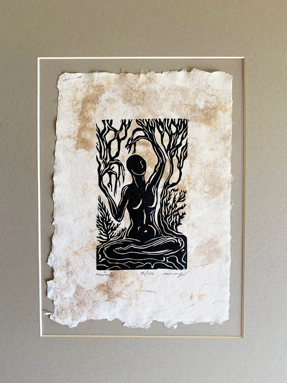 MATTED 16x12 Original Woodcut Norse Goddess Legend Mimir Earth Sky Mother