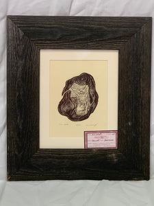 All wood frame, FRAMED 8X10 Wood Engraving One Seed Surreal Figure inside seed pod