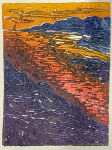 Puesta del Sol Bright Sunset Lake Color Original Cork Relief Print Landscape