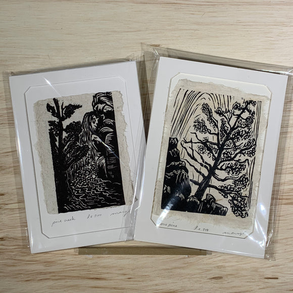 5x7 Original Woodcut Nature Print SET Lone Pine Creek Art Gift MAT or FRAMED