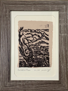 FRAMED 5x7 Original Woodcut Twisted Bristlecone Southwest Landscape