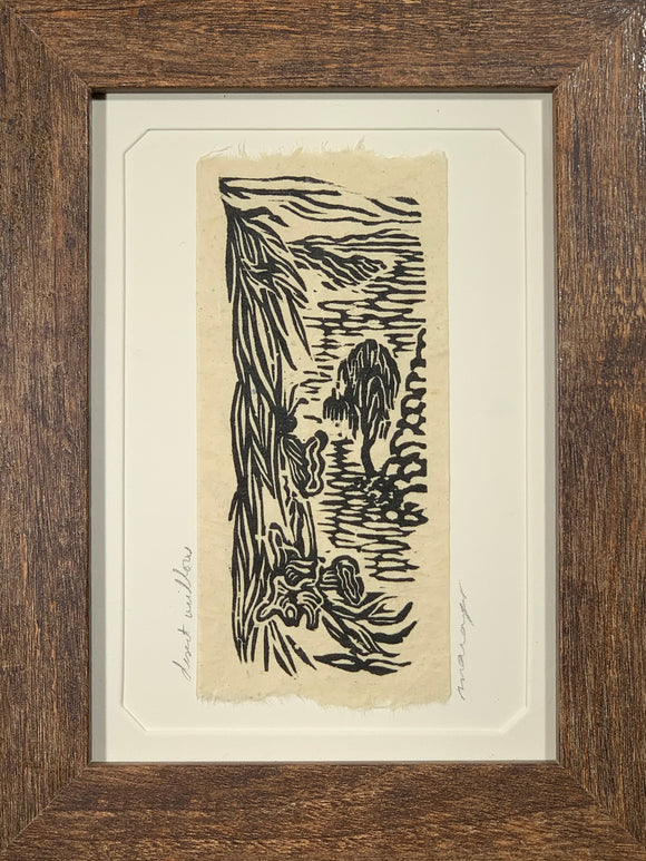 FRAMED 5x7 Original Woodcut Desert Willow Dry Wash Landscape