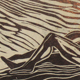 Original Woodcut Couple Reclined Classic Love Sweet Pose Surreal Earth Figures Deckled Edge Handmade Paper
