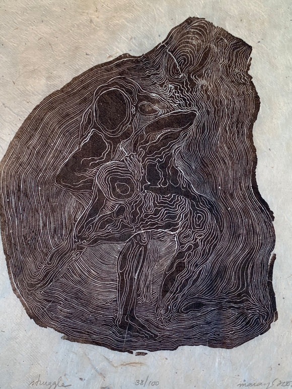 Struggle Life of Tree Figures Male Wrestler Tree Rings Original Wood Engraving