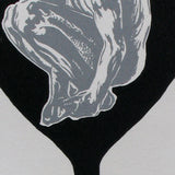 Original Woodcut Print Silver Figure in Black Champagne Glass With Embossed Detail